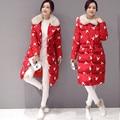 ESTILO Mulheres Branco Jaqueta de Pato Para Baixo Casaco de Inverno Espessamento Quente Com Capuz Senhoras Longo Estilo Moda Bordados Jaquetas Outwear