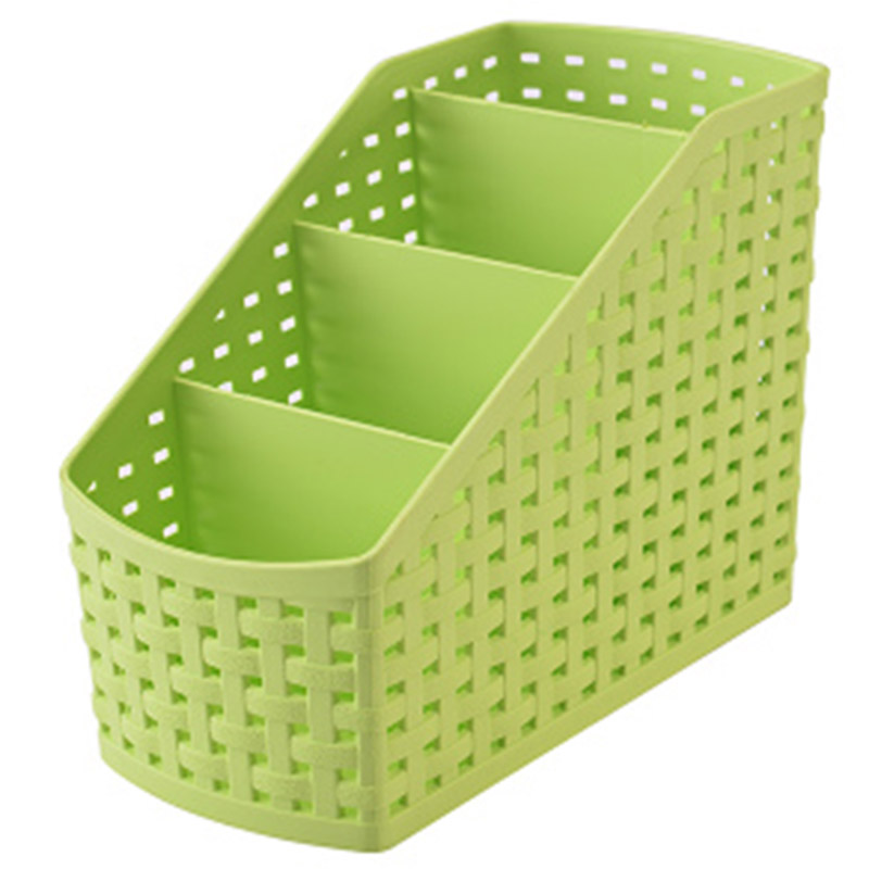 Imitation rattan multi-compartment storage box cosmetics, desktop remote control debris classification storage box, 4-Lattice Gr