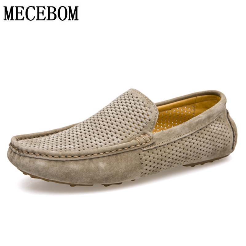 Men Loafers Summer Hole Out Breathable Genuine Leather Shoes Men Casual Driving Boat Shoes Slip-on Flats Moccasins 8033m