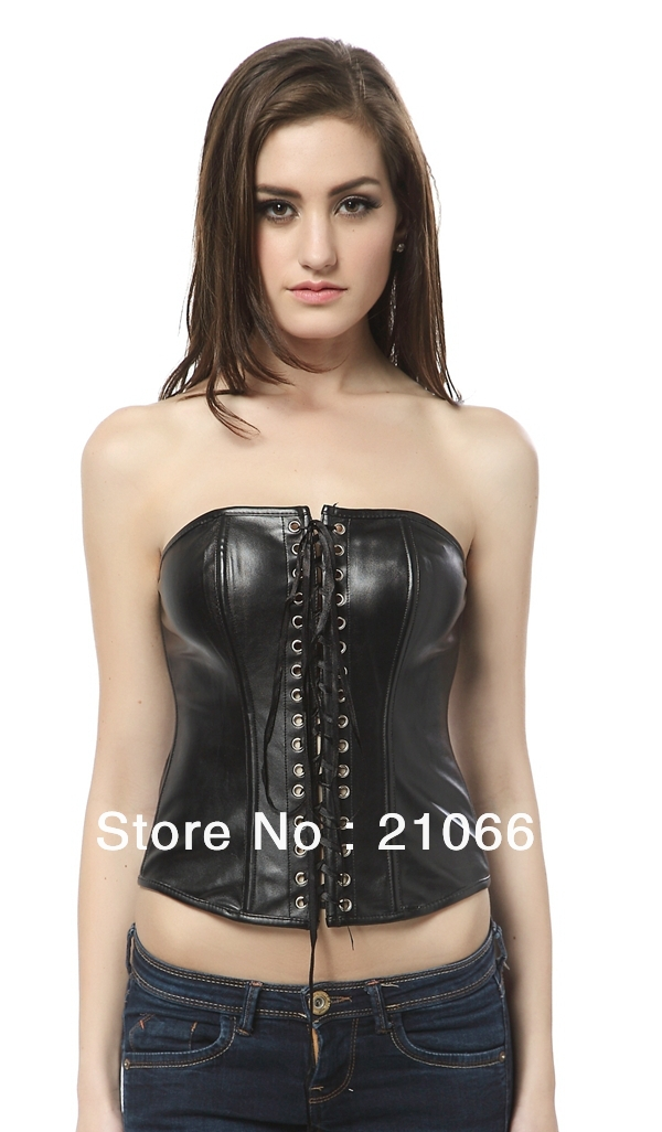 Sexy new lace up back faux leather corset K19