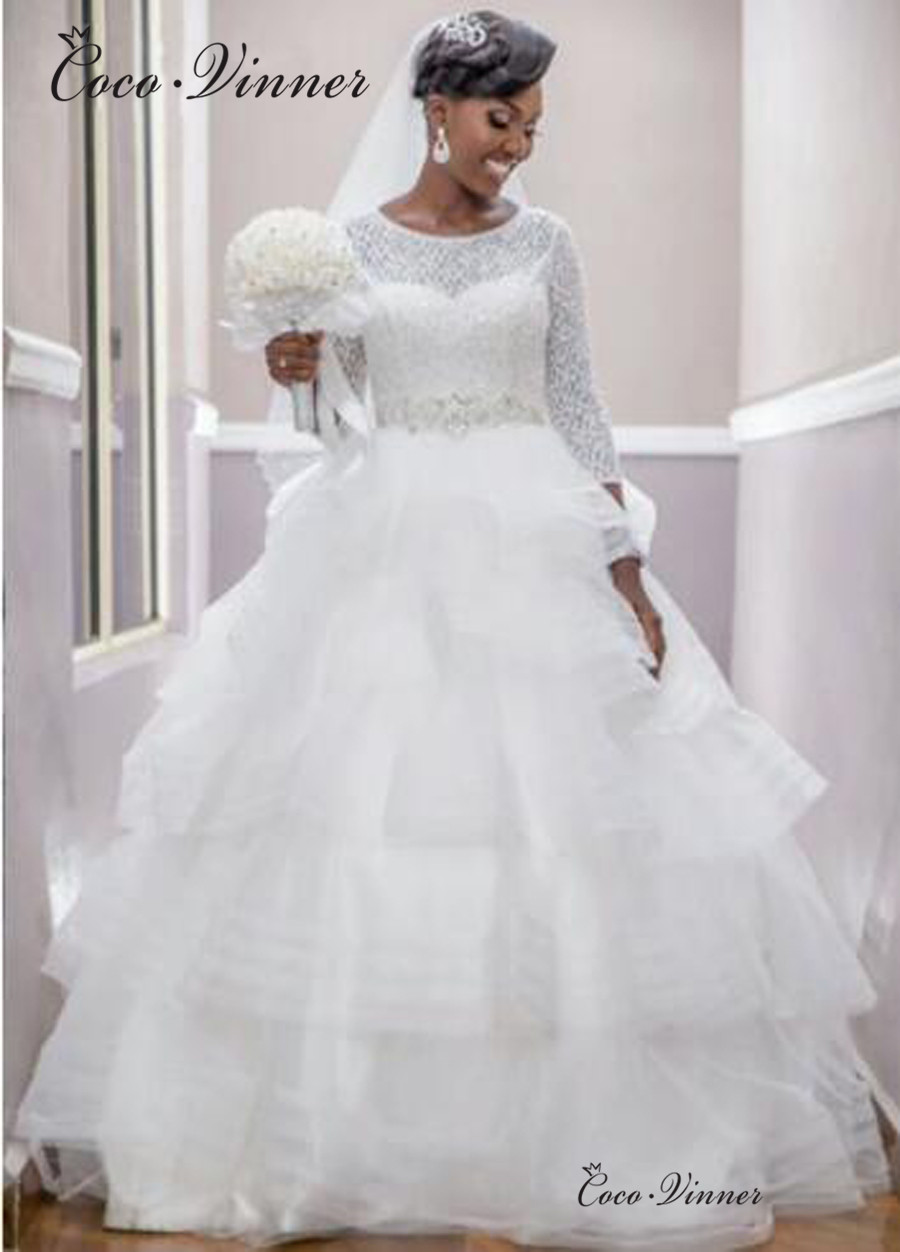 O Neck Lace Wedding Dress 2019 New 3/4 Sleeves Crystal Sashes Tiered Train Ball Gown Wedding Dresses Marrige Wedding Gowns W0433