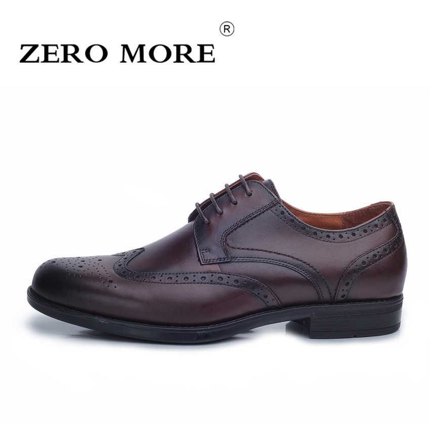 ZERO MORE New Arrival Men Shoes Luxury Genuine Leather Brogue Oxford Shoes for Men Pointed Toe Male Wedding Shoes Color Brown new fashion men shoes comfortable pointed toe genuine leather for men chelsea boots brogue anti skid business shoes black brown