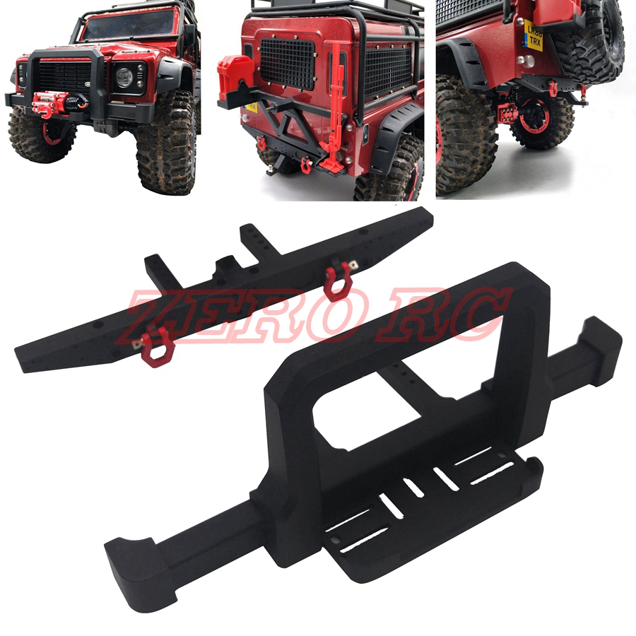 TRX4 CNC ALLOY FRONT REAR BUMPER BULL BAR WITH TRAILER TOW HOOK MOUNT HOLDER For Traxxas