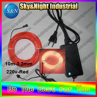 el strip holiday light el wire 3.2mm red+220v Inverter+Free shipping purple/white/green/yellow/orange/pink/
