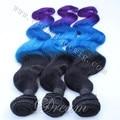 Быстрая доставка 100% человеческих волос девы волос 3 тона omber волос пучки 1B/Blue/Фиолетовый плетение волос.