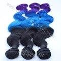 Transporte rápido 100% cabelo humano extensões de cabelo virgem 3 tom omber cabelo bundles 1B/Blue/Roxo cabelo tecelagem.