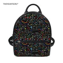 Twoheartsgirl Classic Math Formula Pu Leather Backpack for College Women  Unique Female Ladies Travel Daypack School Book Bags 04cc65aadb7e9