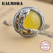 4300925f8f0cd BALMORA 925 Sterling Silver Yellow   White Calcedônia Anéis para As Mulheres  Do Presente Do Amante de Prata Redimensionável Anel.