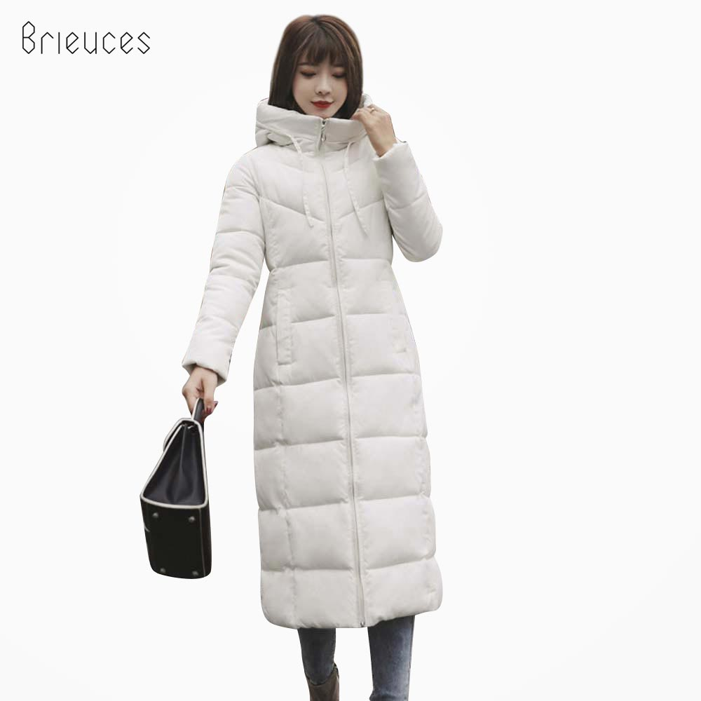 Brieuces Woman Winter Jacket Coat 2018 Fashion Cotton Padded Jacket X-Long Style Hood Slim Thicken Female   Parka   Plus Size 6XL