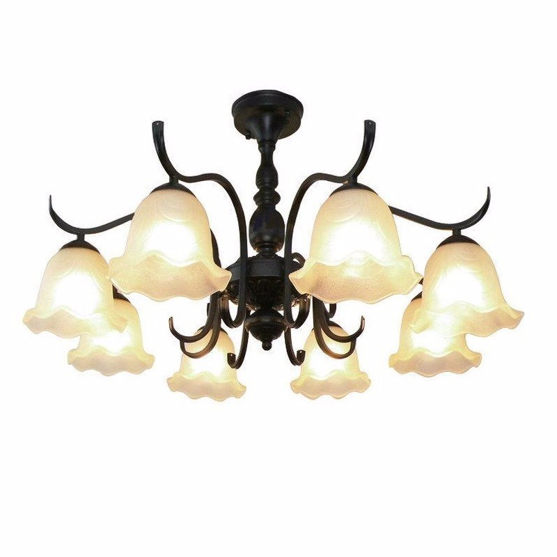 European wrought iron ceiling lamp American Mediterranean living room dining room lamp bedroom modern atmosphere retro