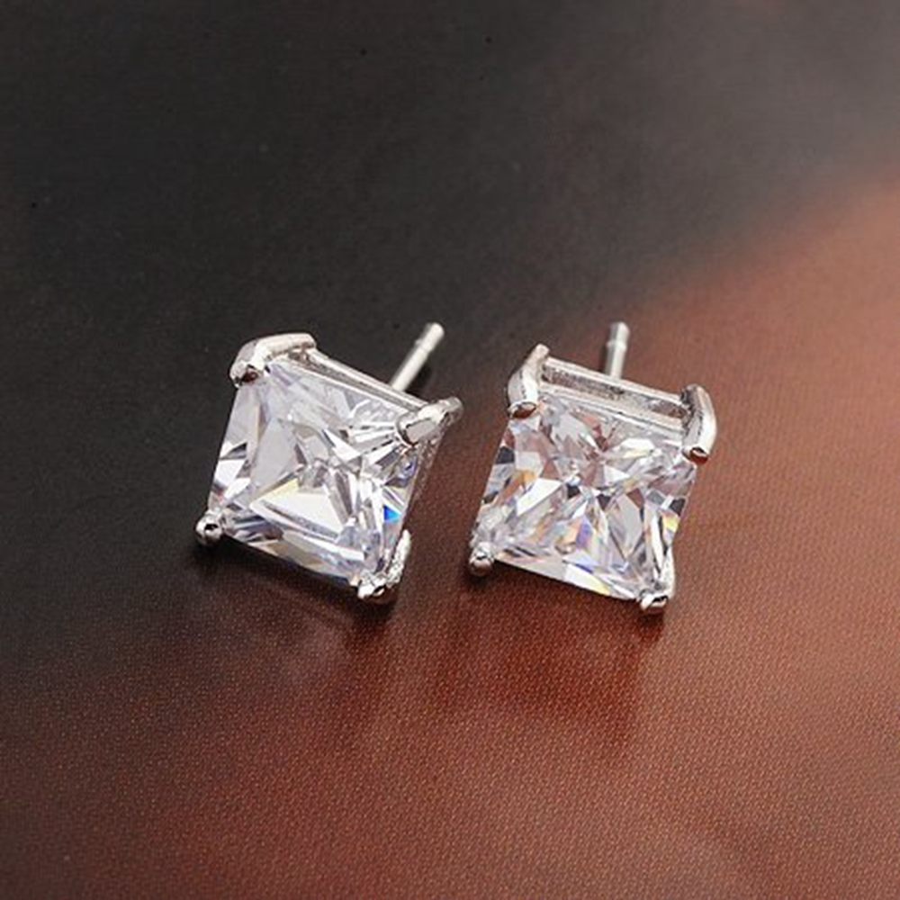 Us 3 76 36 Off Square Cut Clear Earrings White Gold Filled Womens Mens Sud In Stud From Jewelry Accessories On Aliexpress