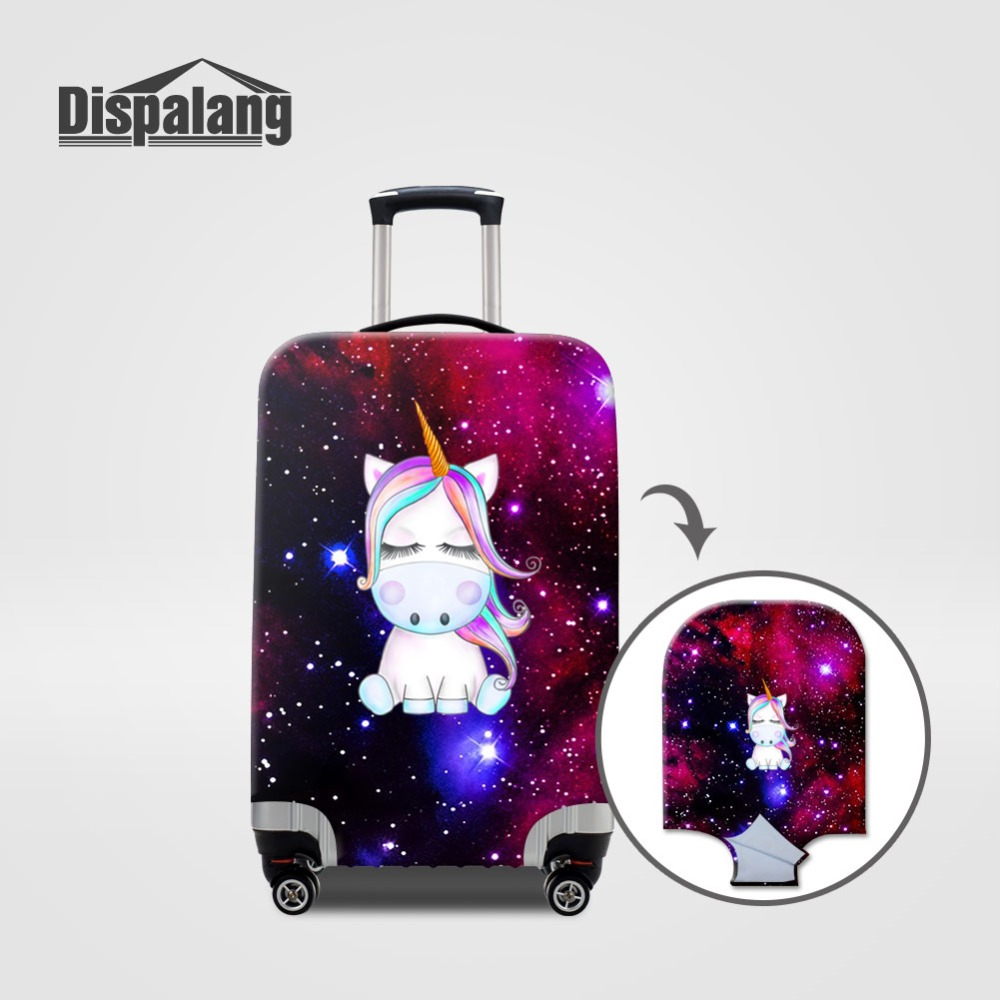 Unicorn With Long Purple Hair Travel Suitcase Protector Zipper Suitcase Cover Elastic