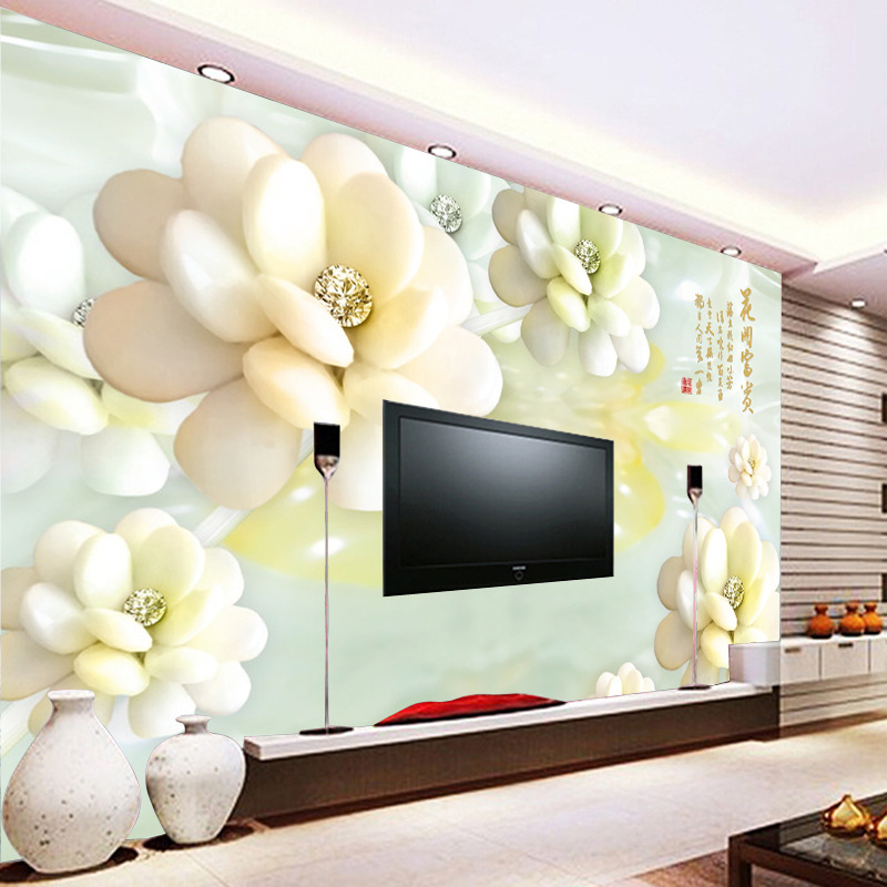Large mural living room wallpaper white flowers custom for Custom mural wallpaper
