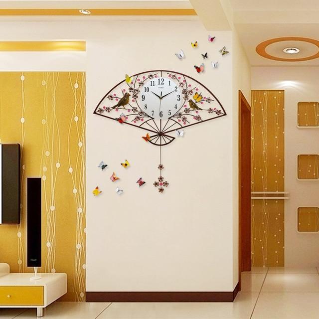 TUDA2017 Eine Rote China Wind Wanduhr Wohnzimmer Uhr Schlafzimmer  Minimalistische Atmosphäre Kreative Mode Mute Pendel