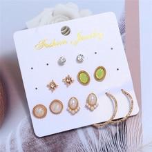 L&H 6Pairs/Set Luxury Elegant Stud Earrings Set Delicate Pearl Earrings For Women Round/Oval Rhinestone Earrings in Jewelry 2019 недорого
