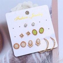 L&H 6Pairs/Set Luxury Elegant Stud Earrings Set Delicate Pearl For Women Round/Oval Rhinestone in Jewelry 2019