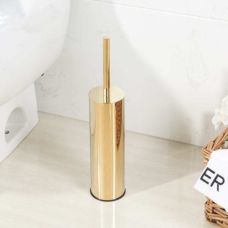 Luxury Gold Toilet Brush Holder Set Durable Bath Brush Head  Cleaning Brush Replacement Bathroom  Brush Holder Stainless Steel