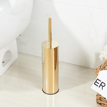 Luxury Gold Toilet Brush Holder Set Durable Bath Brush Head  Cleaning Brush Replacement Bathroom  Brush Holder Stainless Steel недорого