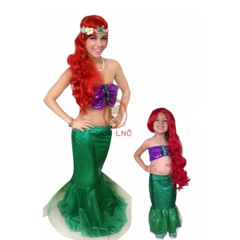 La Pequeña Sirena Cola Princesa Ariel Vestido Cosplay