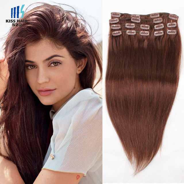 Us 28 35 Clip In Human Hair Extensions Color 33 Rich Cooper Red Dark Auburn Silky Straight High Quality Raw Indian Virgin Remy Hair On