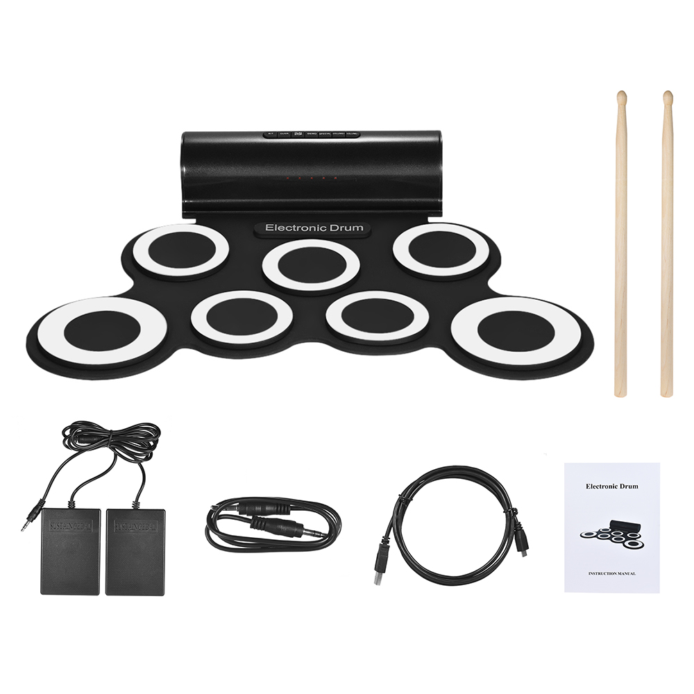 NEW Portable Digital Mono Electronic Drum Set Kit 7 Silicon Pads Built in Speaker USB Powered