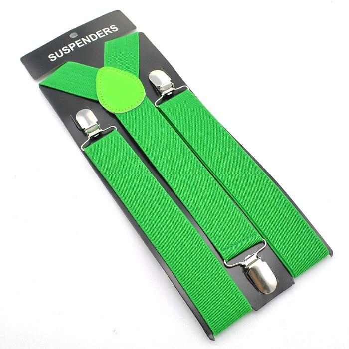 """Горячие Подтяжки для женщин Для мужчин Мужская Clip-On брекеты упругой подвески 3.5 см широкий """"20 однотонные"""" mix Подтяжки для женщин оптом и в розницу - Цвет: Grass Green"""