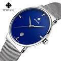 Caso Marca de luxo Malha Cinta de Aço Fino Relógio dos homens com Chapeamento de Prata Fashion Business relógio de Pulso Masculino relogio masculino Azul