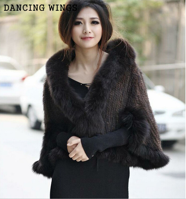 5 colors women's fashion cape coat short paragraph real fox fur collar mink shawl AS-23