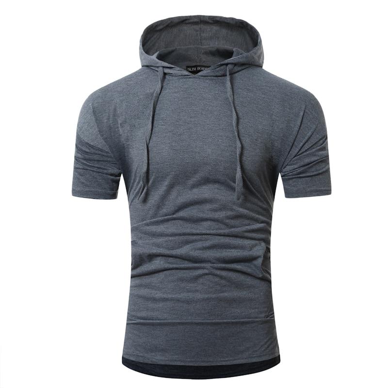 Male 2018 Brand Short Sleeve Solid Color T Shirt Hoody Slim Men T-Shirt Tops Fashion Mens Tee Shirt T Shirts XXL DH