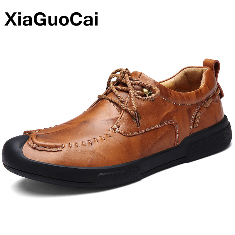 XiaGuoCai 2018 Newest Autumn Genuine Leather Men's Casual Shoes Breathable Business Men Flats British Tooling Footwear Moccasins xiaguocai new autumn men driving doug shoes breathable slip on british leather casual shoes for man comfortable boat shoes flats