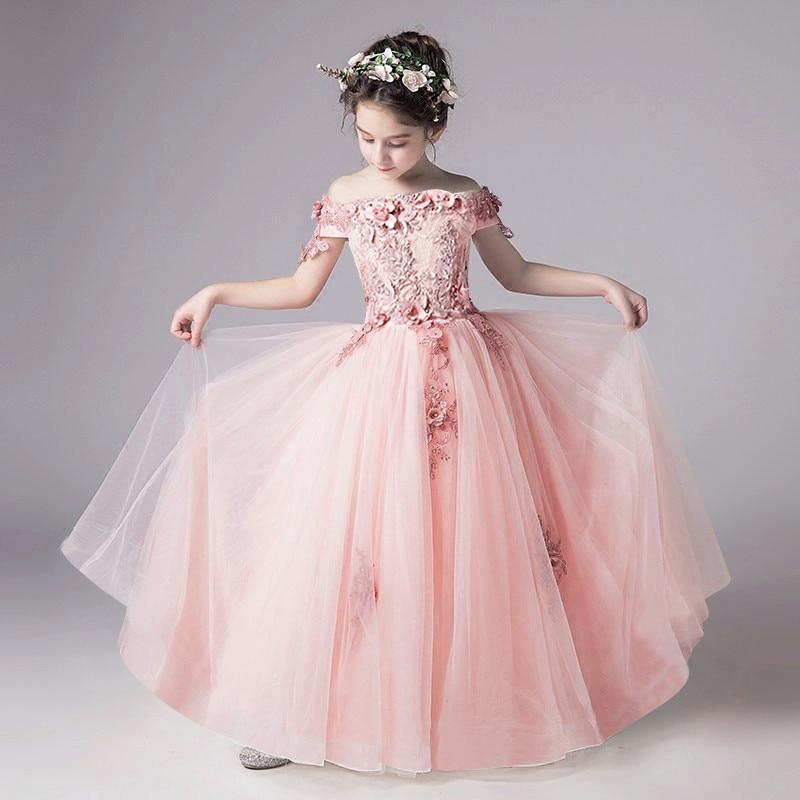 2-14 year Kids Girls Wedding Flower Girl Dress elegant Princess Party Pageant Formal Dress Sleeveless Lace Tulle long Dress