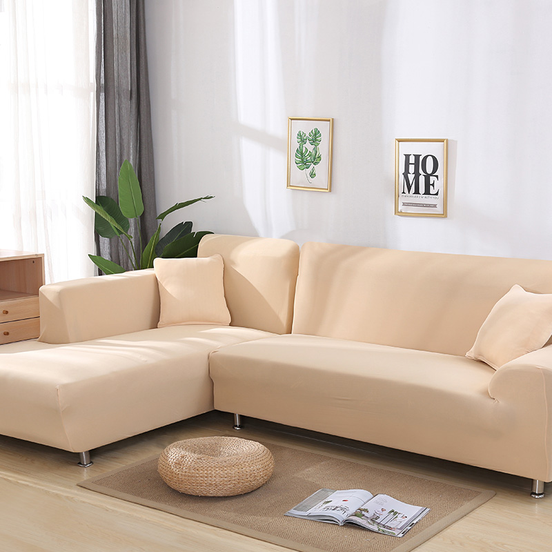 2 Pcs Couch Covers for Corner L Shaped Sofa with Elastic and Straps for Living Room 4