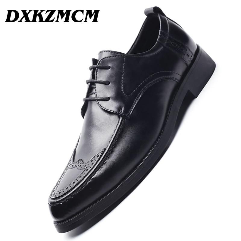 DXKZMCM Genuine Leather Men Oxford Shoes, Lace Up Casual Business Men Shoes, Brand Men Wedding Shoes, Men Dress Shoes цена