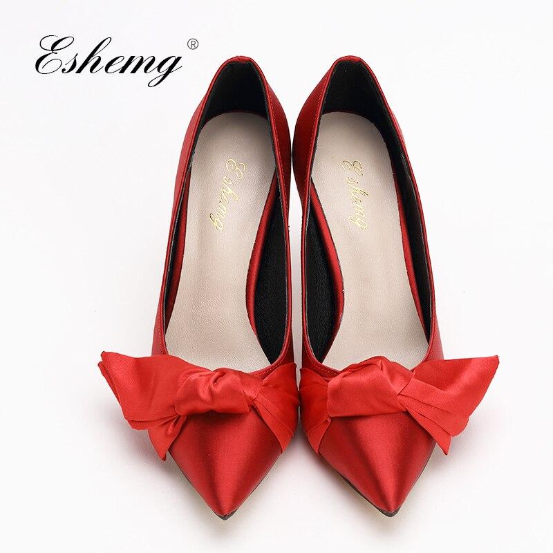 41 Brautjungfern Spitz Große Sexy Hochzeit Mujer Schuhe Zapatos Braut Dame Eshemg Rot Pumpt Größe Prom Yx07wqZWfg