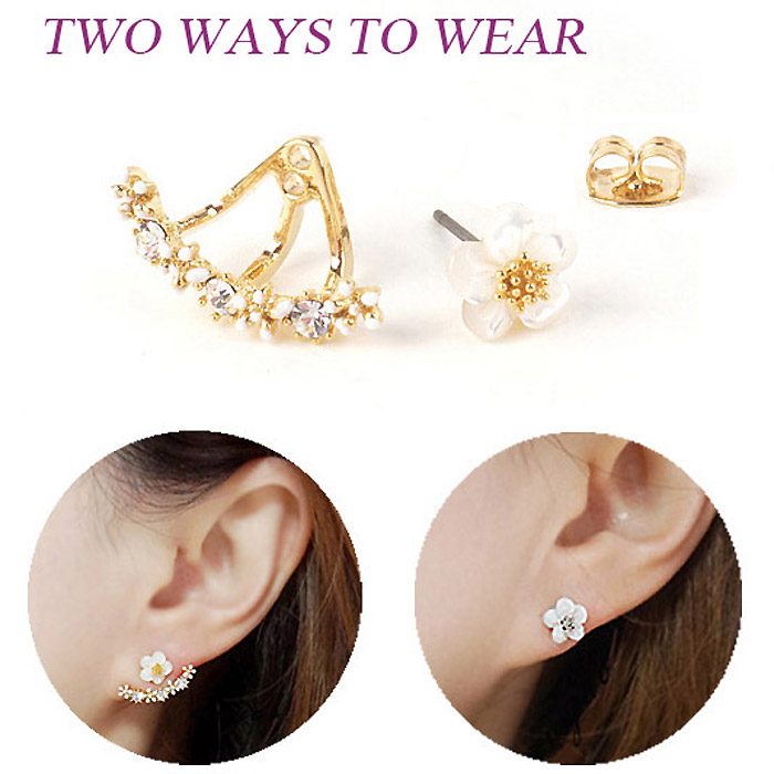 USTAR Flower Crystals Stud Earring for Women Rose gold color Double