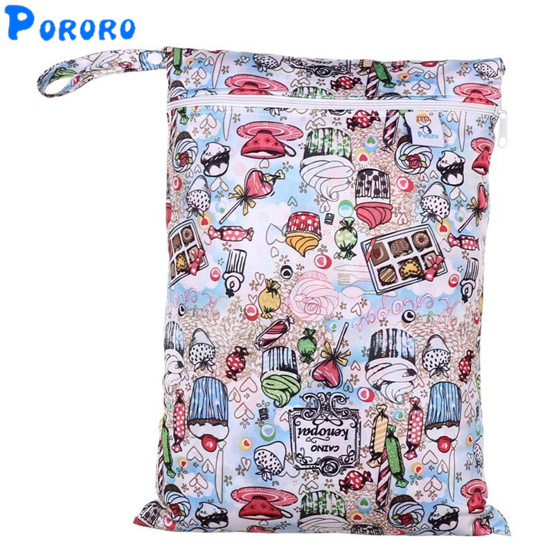 PUL Wet Bag Baby Waterproof Cloth Diaper Bag Single Pocket Zipper Print Reusable Baby Nappy Diaper Rubbish Wet Bag 30X40cm