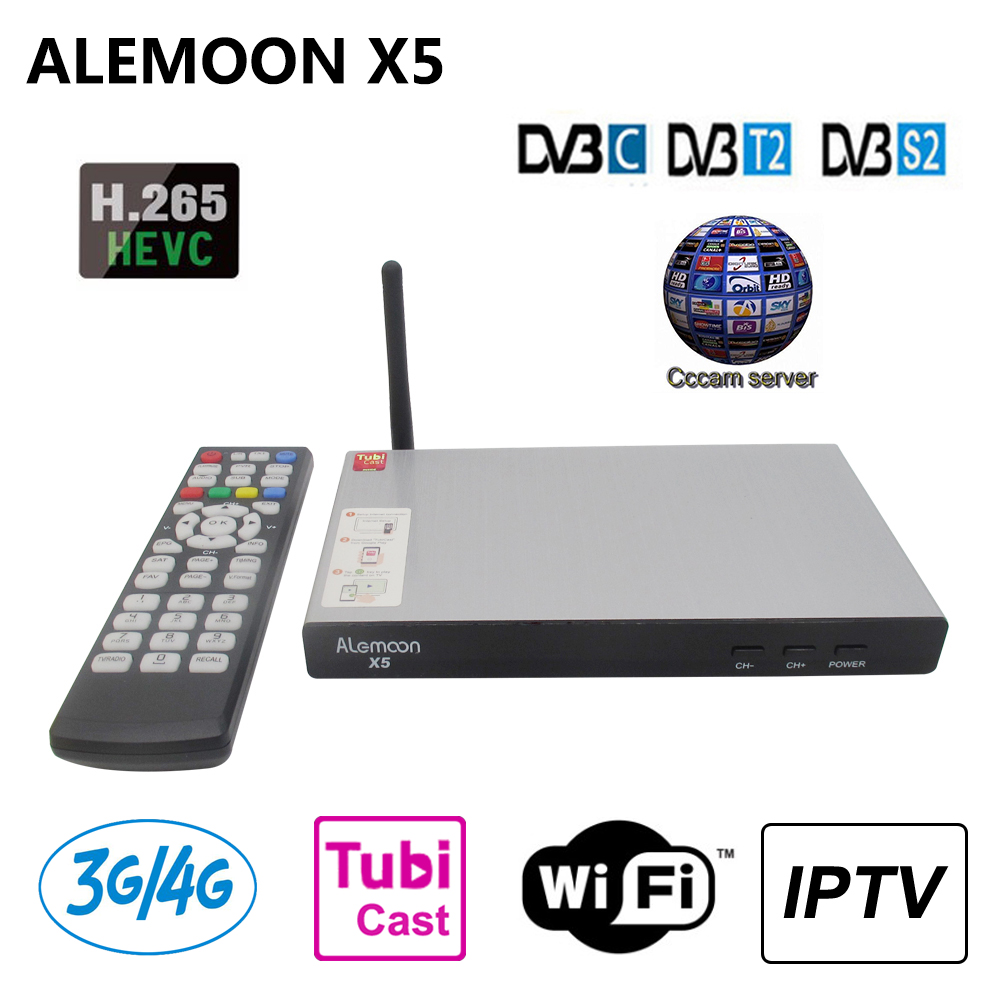 ALEMOON X5 DVB-T2 DVB-S2 DVB-C Satellite Receiver H.265 Receptor + 1 year Europe Cccam clines for Spain Italy WiFi IPTV Box Cast best hd iptv box ips2 plus dvb s2 tv receiver 1 year europe iptv 2500 channels dvb s2 usb wifi set top box satellite receiver