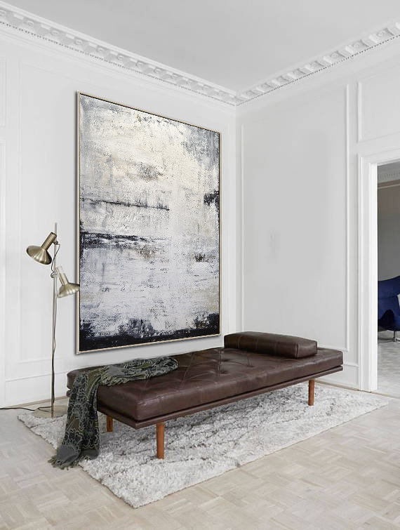 Abstract Painting Artwork Contemporary Large Oil Art-Oil Gray Sky Vertical-Textured-Design