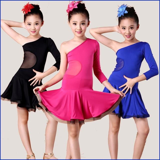 Envío Gratis negro/rosa/azul Niñas Latino Dance dress para niños ...
