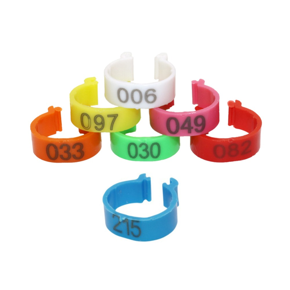 7 Colors 16mm Digital Foot Ring NO.001-500 Poultry Buckle Type Clip Rings Farm Equipment Chicken Identification Ring 100 Pcs