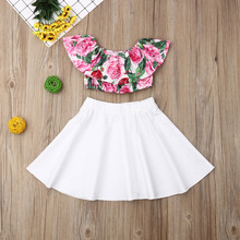 Baby Girl Clothes Set Ruffle Crop Tops Mini Skirt