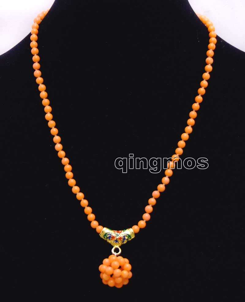 4-5mm Orange Round Natural Coral & handwork Weaving 15-16mm Round Ball Pendant 17'' Necklace-nec6211