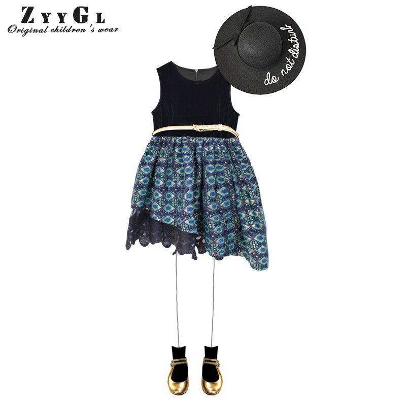 ZYYGL 2017 Autumn new children clothing Flower Girl Dresses Peacock Sleeveless girls dress Little Girls Kids/Children Dress