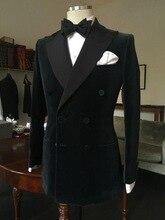 Siyah kadife erkek yemeği balo rahat özel düğün smokin Groomsmen düğün Blazer Suits erkekler için