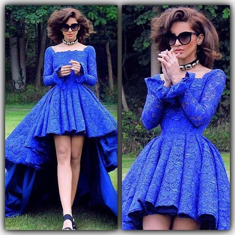 4964d1ff5a27 Royal Blue Lace High Low Evening Dresses with Sleeves Short Front Long Back  Backless Prom Dress Square Party Gown Robe de soiree