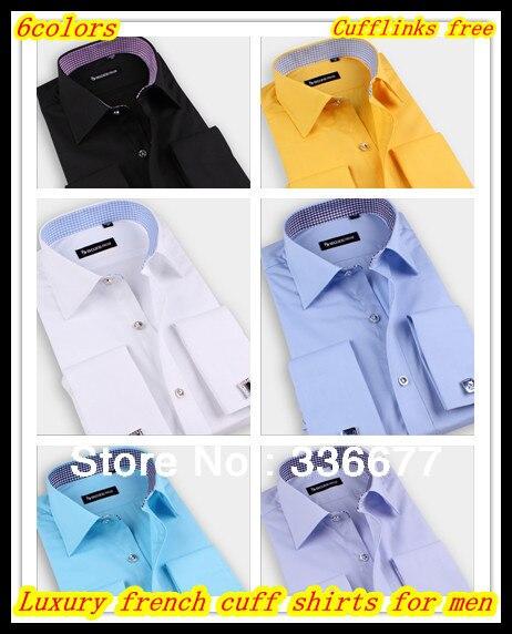 Оптовые Смешанные цветы и размеры плюс размер Роскошный дизайнерский бизнес контраст воротник Французский манжеты рубашки для мужчин запонки бесплатный QR-5000