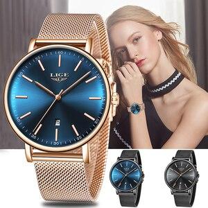 Женские кварцевые часы LIGE, ультратонкие водонепроницаемые часы из нержавеющей стали с сетчатым ремешком