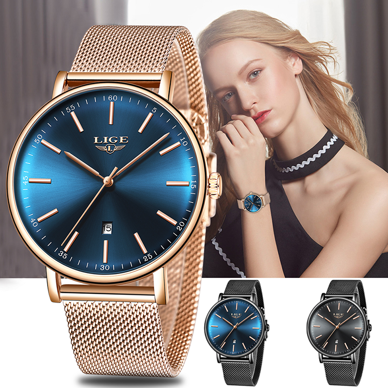 LIGE Frauen Uhren Top Marke Luxus Damen Mesh Gürtel Ultra-dünne Uhr Edelstahl Wasserdichte Uhr Quarzuhr Reloj mujer