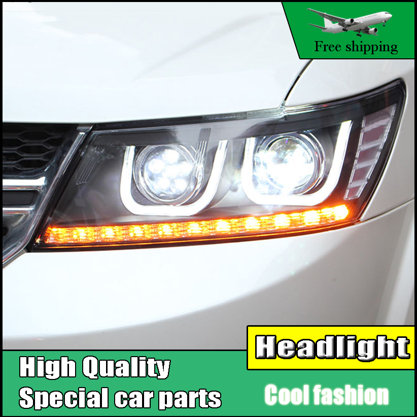 Car Styling Head Lamp For Fiat Freemont Headlights 2008-2016 For Dodge Journey JCUV LED High Beam Headlight DRL Xenon Low Beam custom cargo liner car trunk mat carpet interior leather mats pad car styling for dodge journey jc fiat freemont 2009 2017