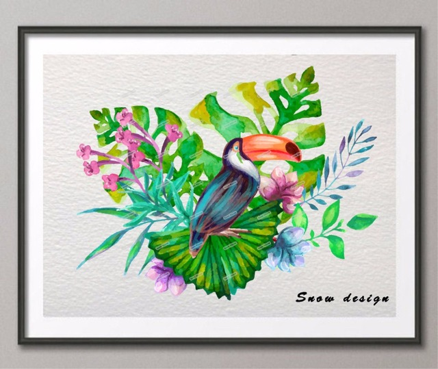 Tropical Bird Original Watercolor Wall Art Canvas Painting Ilration Poster Print Pictures Home Decor